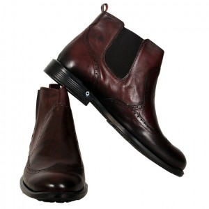 Men's Leather Shoes 19394 Claret Red