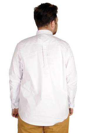 Large Size Men s Classic Shirt with Pocket and Lycra 20350 White