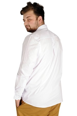 Large Size Men s Classic Shirt with Lycra-20351 White
