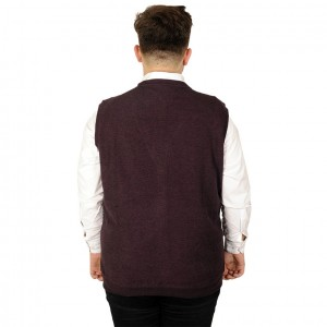 Big Tall Men s Cardigan Fabric Sweater with Button Pocket 20545 Maroon Color