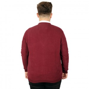 Big Tall Men s Vanize Cardigan Fabric with Button 20548 Burgundy