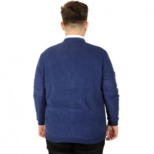 Big Tall Men s Vanize Cardigan Fabric with Button 20548 Indigo Blue