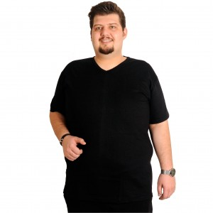 Big-Tall Men s V Neck Undershirt 6347siyah Black (3XL-7XL)