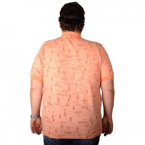 Big Size Men's T-Shirt Polo Red Skins Printed 19428 Salmon